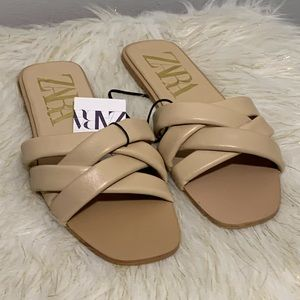 Zara brown leather slippers shoes size 10